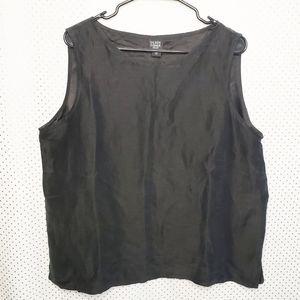 Eileen Fisher Silk & Linen Black sleeveless top